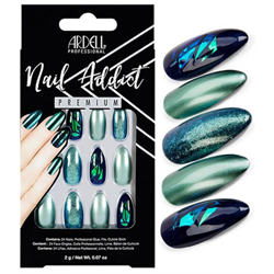 Ardell/Nail Addict Premium Artificial Nail Set-Green Glitter Chrome (75887)