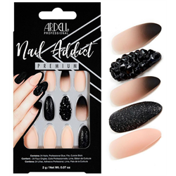 Ardell/Nail Addict Premium Artificial Nail Set-Black Stud & Pink Ombre (75886)