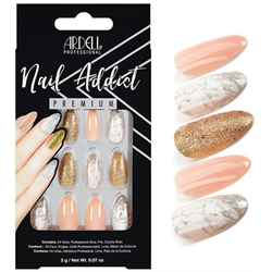 Ardell/Nail Addict Premium Artificial Nail Set-Pink Marble & Gold (75884)