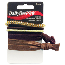 BabylissPro Hair Accessories/Hair Ties 5pc Brown/Gold (BESHAEL2UCC)